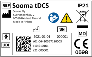 Sooma tDCS MDR-compliant label